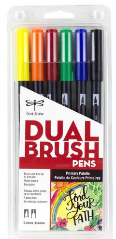 Tombow Primary Dual Brush Markers Set of 6