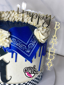 Floating Acrylic cake topper- Happy Birthday Gold