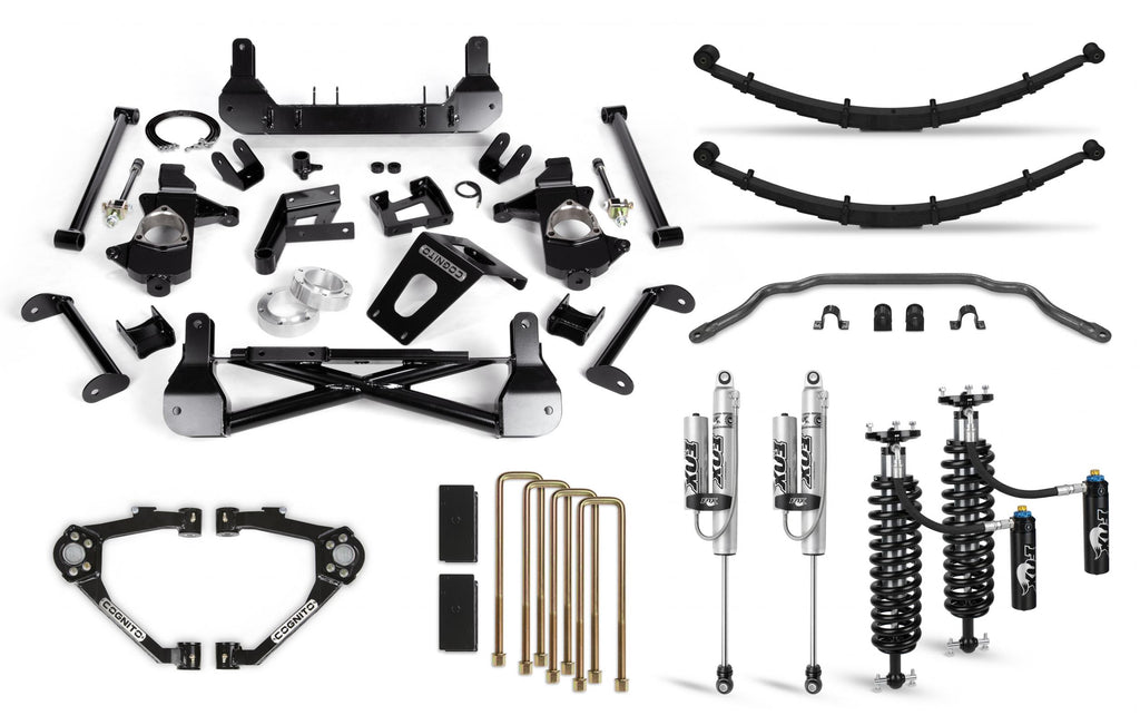 Cognito 7-Inch Elite Lift Kit with Fox FSRR Shocks for 14-18 Silverado/Sierra 1500 2WD/4WD With OEM Stamped Steel/Cast Aluminum Control Arms