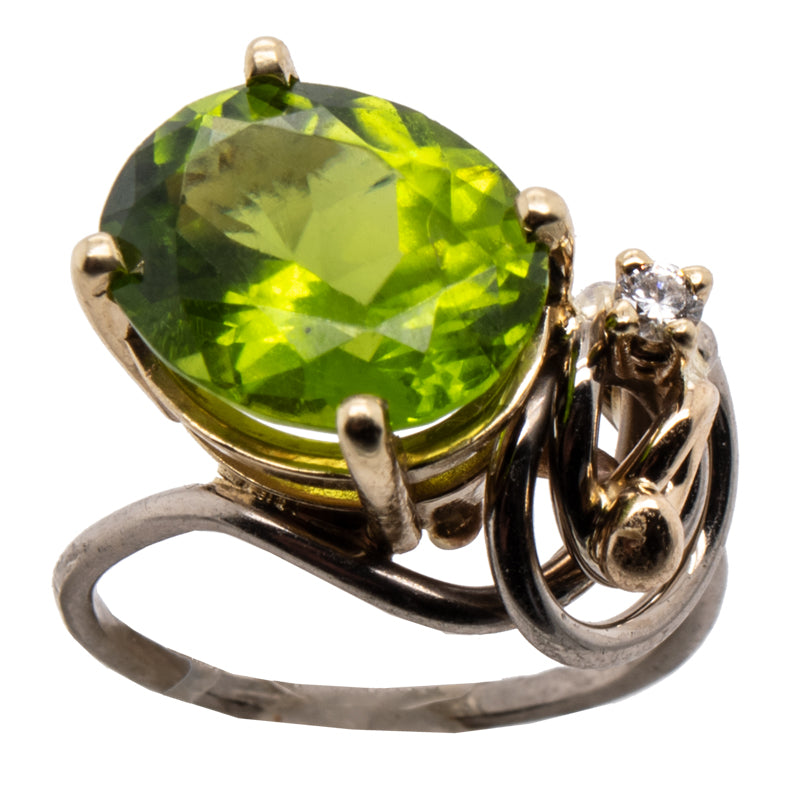 Peridot & Diamond Seaweed Swirl Ring