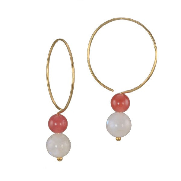"""Watermelon & Moonlight"" ""Saturn"" Hoop Earrings"