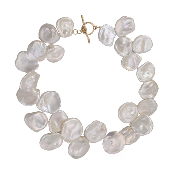 Graduated White Keshi Petal Pearl Necklace