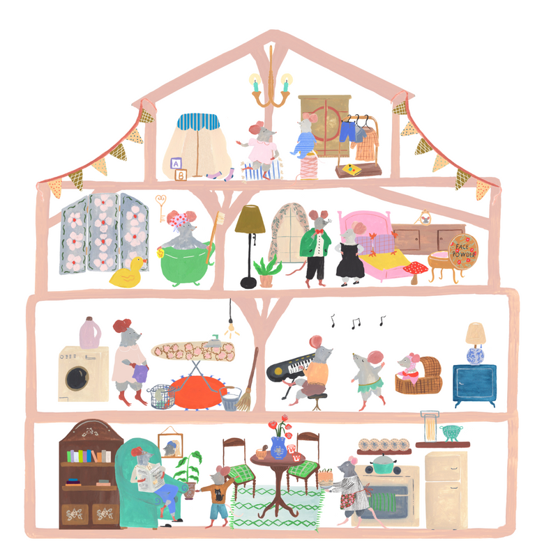 Mouse House Kids Playing Sticker
