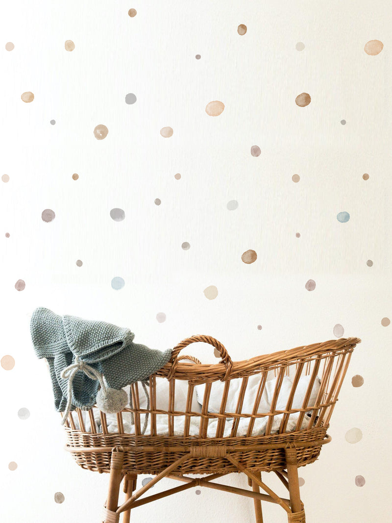 Watercolor Beige Polka Dots