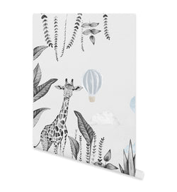 Monochrome Jungle with Hot Air Balloons