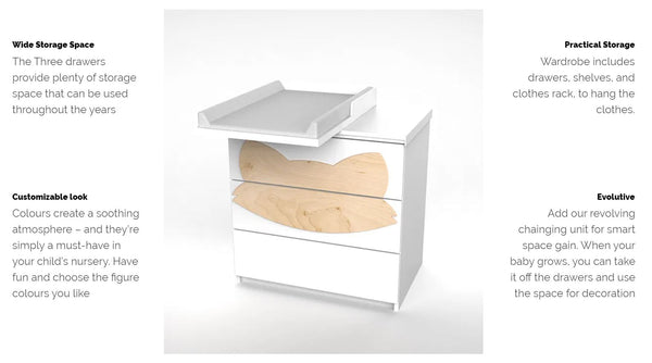 Fox M Drawers with White Fox Handle