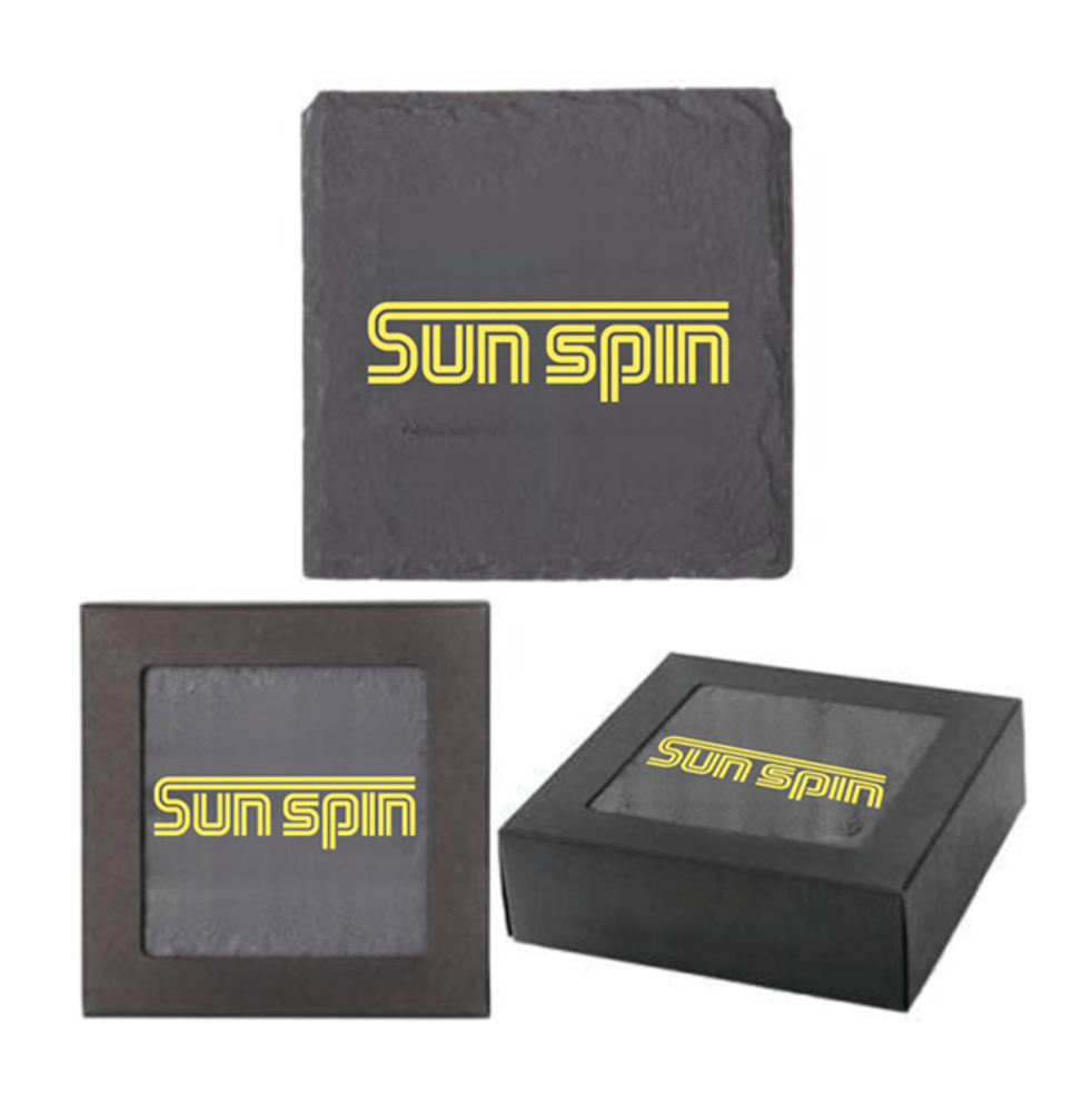 Sun Spin Black Slate Coaster (Single)  SIGNED