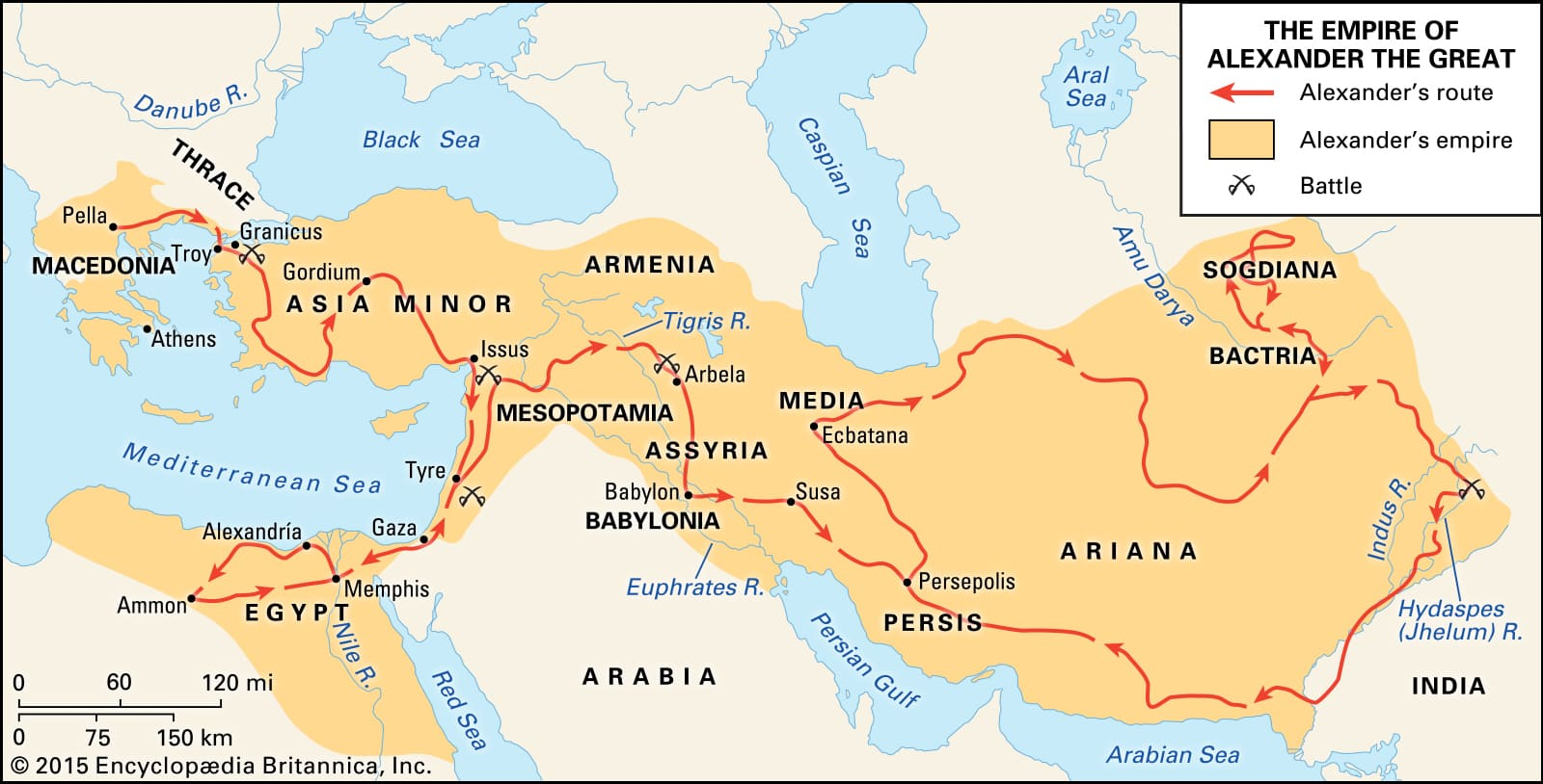 Map of the battles of Alexander the Great