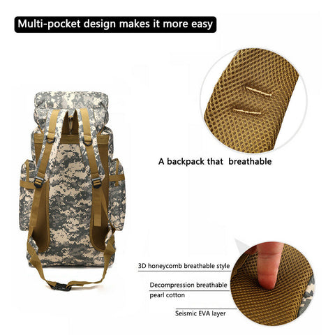 80L Military Tactical Rucksack Army Molle Backpack
