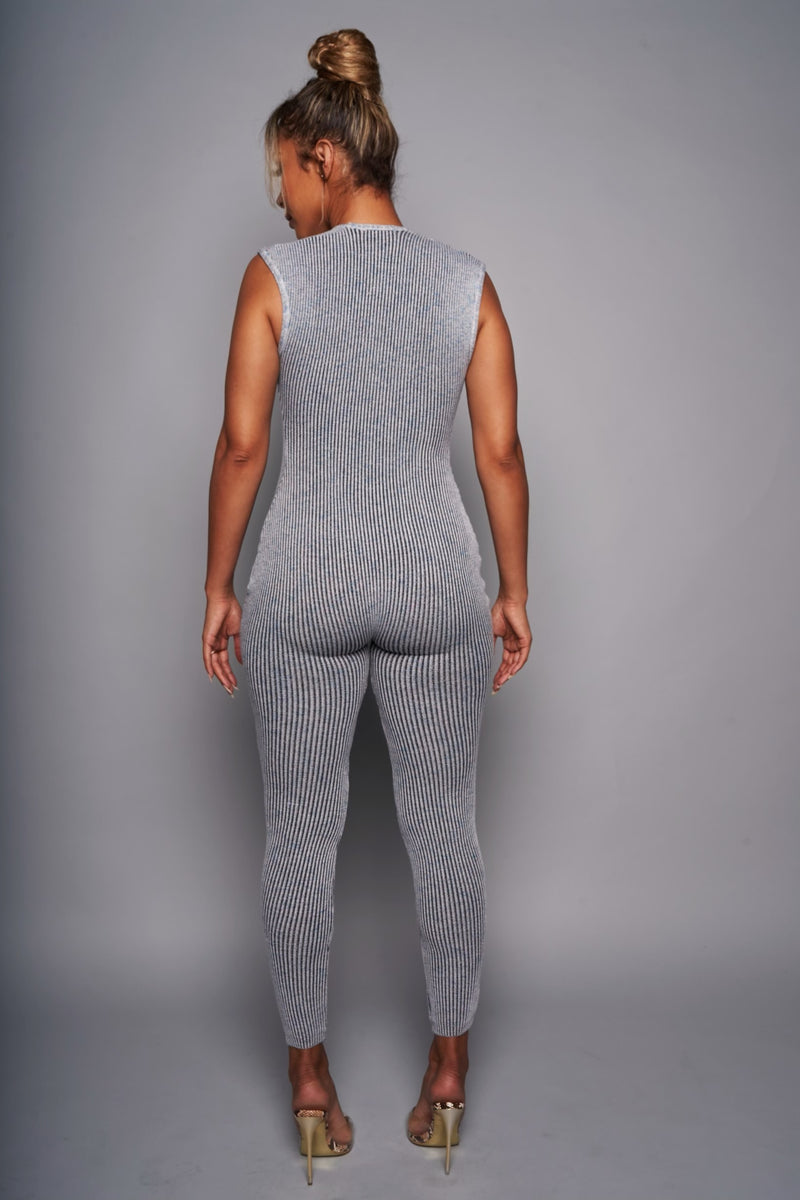 'KNIT ME UP' GRAY CONFETTI JUMPSUIT