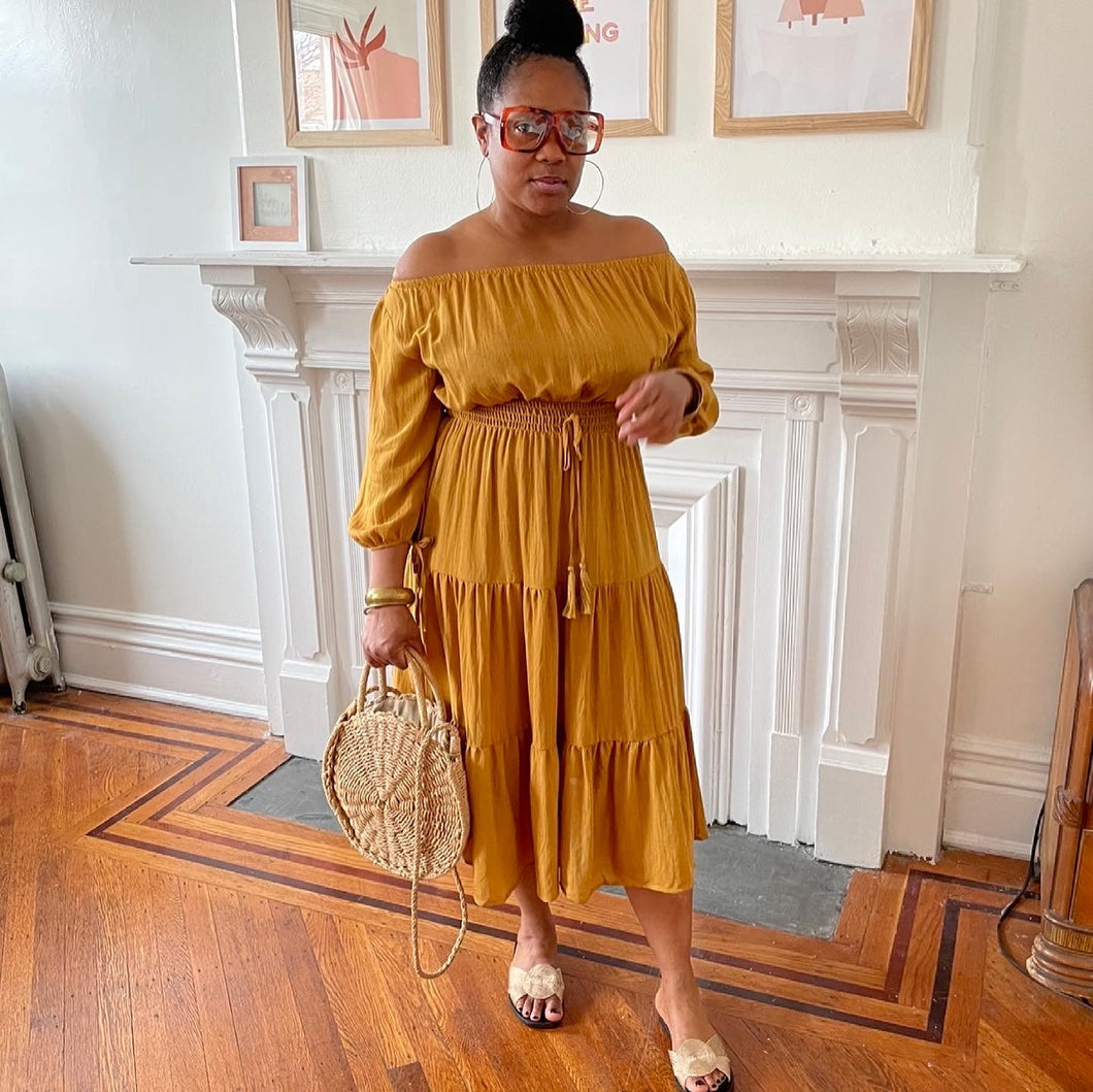 Out For The Day Dress-Mustard