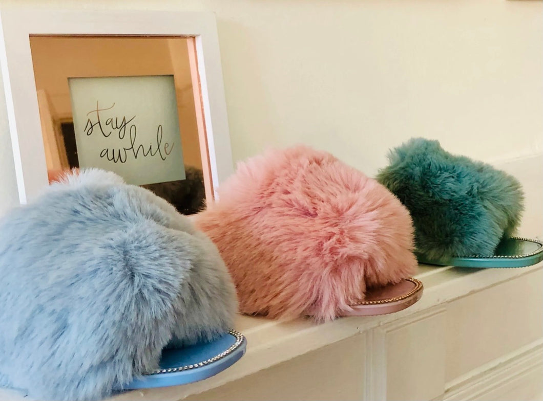Lounge Pretty Fluffy Slippers-Ice Blue