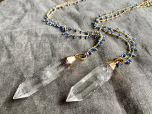 Load image into Gallery viewer, Crystal Point NeckQuartz Crystal Point Necklace on a Rosary Chain