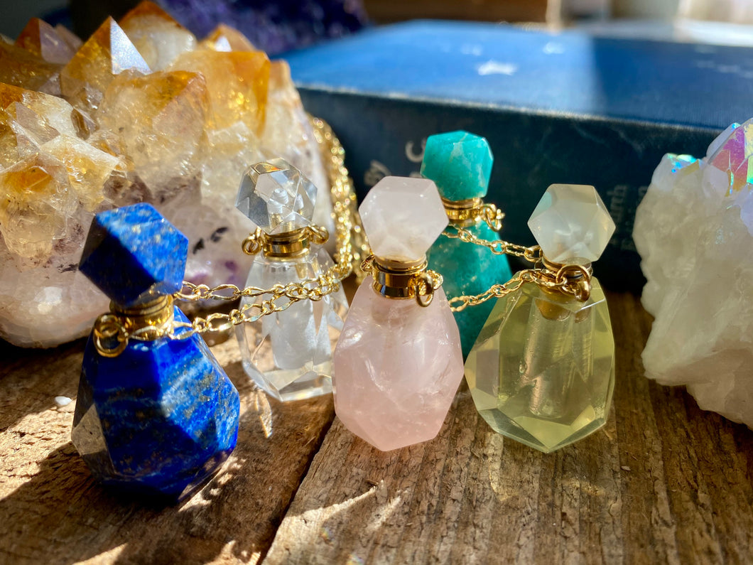 Crystal Bottle Essential Oil Diffuser Necklaces