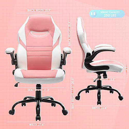 Flip-Up Arms Office Gaming Chair, Ergonomic Swivel Computer Racing Game Chair Adjustable Desk Task Chair (Pink)