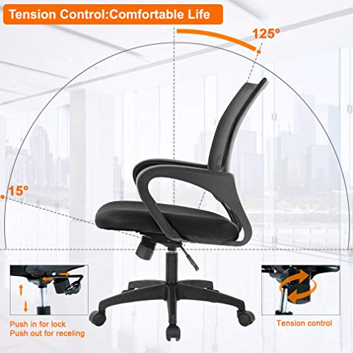 Home Office Ergonomic Computer Chair with Lumbar Support Armrest Adjustable Mid Back Task Chair Black