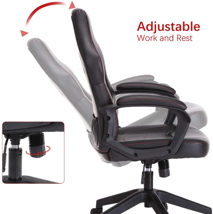 Racing Gaming Chair Executive Bonded Leather Computer Office Chair with Padding Armrest