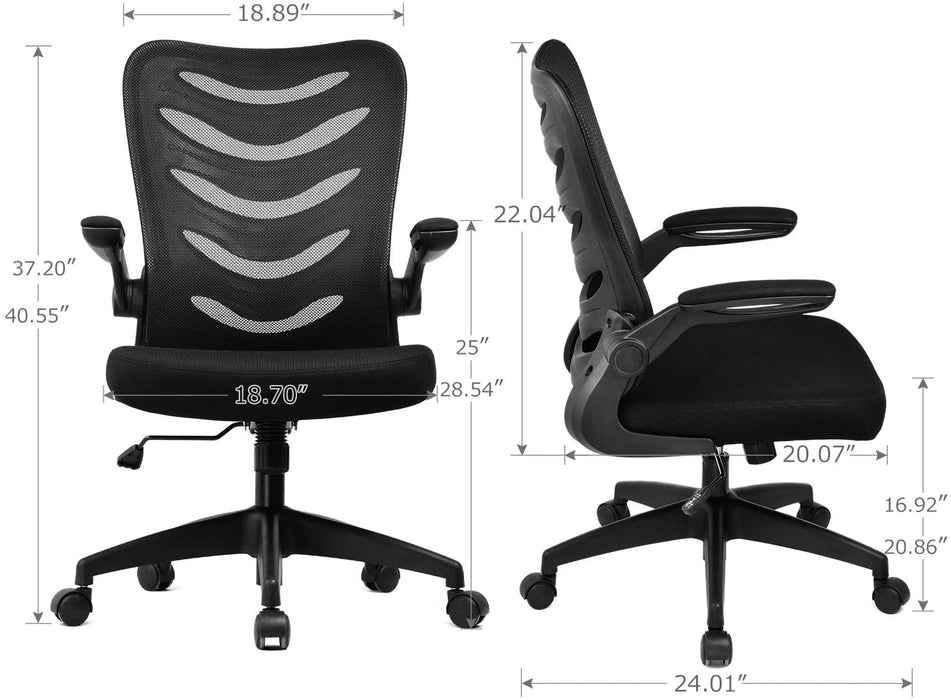 Desk Chair Ergonomic Office Chair Mesh Computer Chair with Flip Up Arms Lumbar Support Adjustable Swivel Mid Back for Conference Home Office, Black