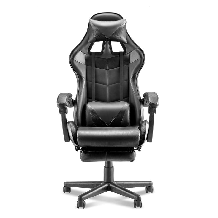 Racing Stytle for Gaming PU Leather Computer Gaming Office Chair E-Sports Chair with Retractable Footrest,Height Adjustment,Lumbar Support (Carbon Black)