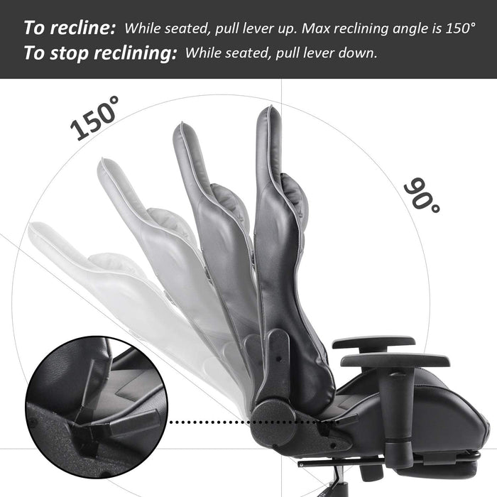 Gaming Racing Office High Back PU Leather Computer Desk Executive and Ergonomic Swivel Chair with Headrest