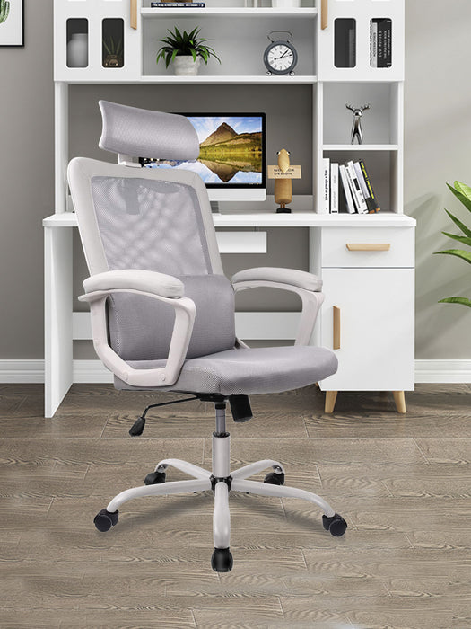 High Back Mesh Ergonomic Office Chair, Adjustable Headrest Computer Task Chair - Gray