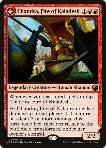 Chandra, Fire of Kaladesh // Chandra, Roaring Flame [V17][Foil]