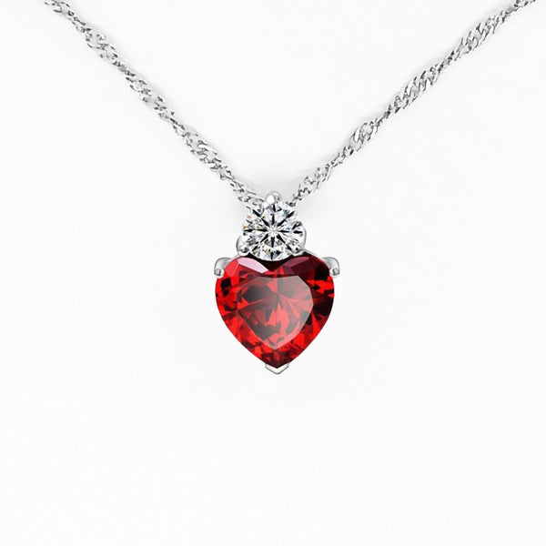 Red CZ Gem Heart Necklace