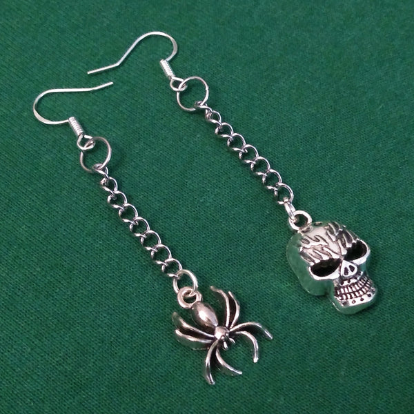 Skull and Spider Earrings
