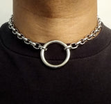 Unisex Stainless Steel Chain Choker Necklace with O Ring