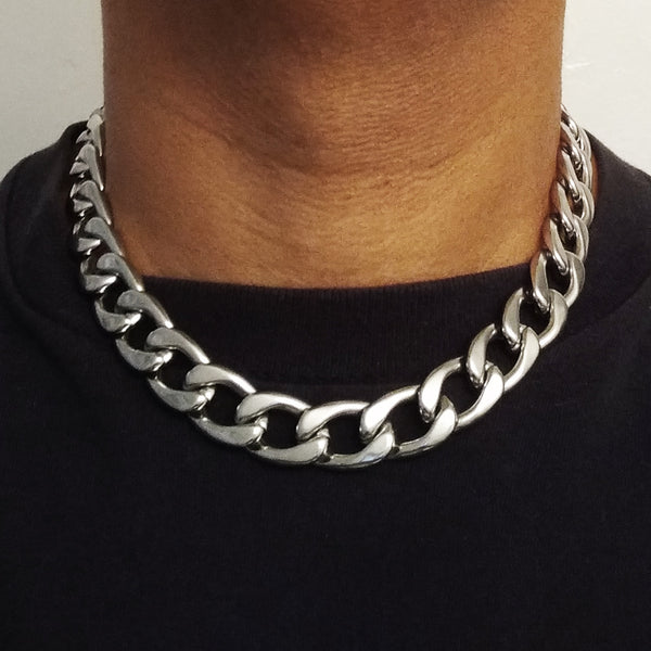 18 Inch Stainless Steel Curb Link Chain Necklace - 15mm width