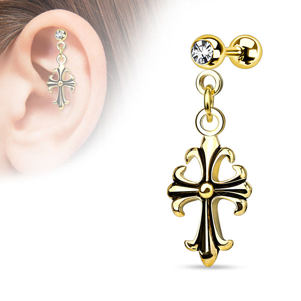 316L Surgical Steel Celtic Cross Cartilage / Tragus Barbell Earring