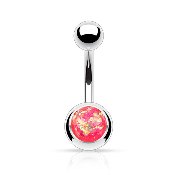 Pink Glitter Belly Button Ring