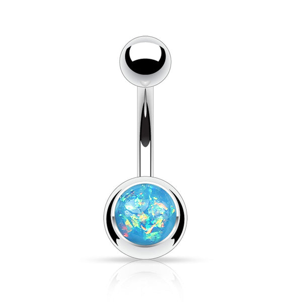 Aqua Glitter Belly Button Ring