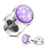 Purple Illuminating Stone 16g Faux Ear Plugs