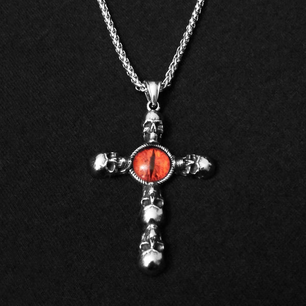 Red Eye Skulls Cross Necklace