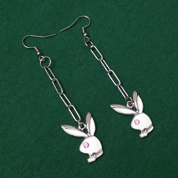 White Charm Playboy Bunny Earrings