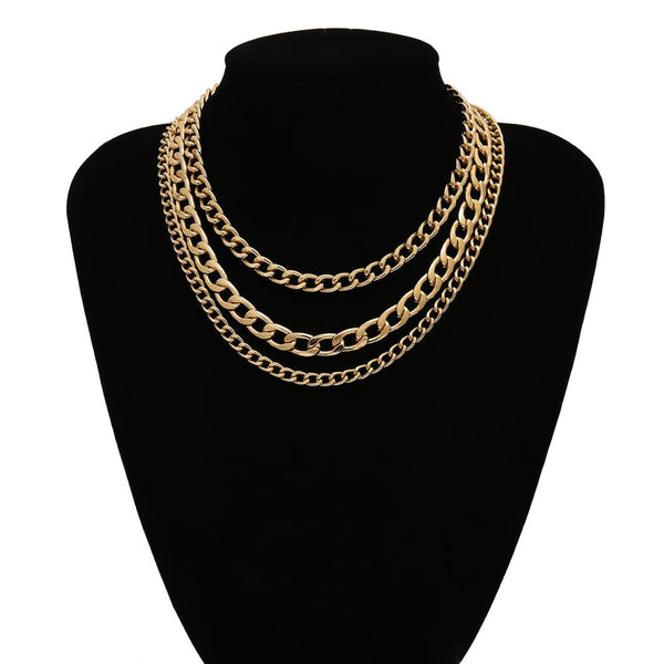 Gold Color Triple Layer Chain Necklace