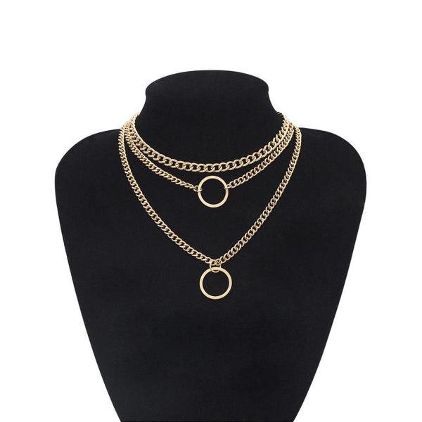 Gold Color Multi-Layer Stainless Steel Chain Necklace