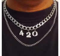 420 Chain Necklace - Double Layer Stainless Steel Chain