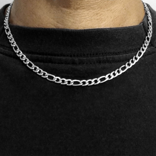 Stainless Steel Figaro Chain Necklace - 18 Inch - 5mm width