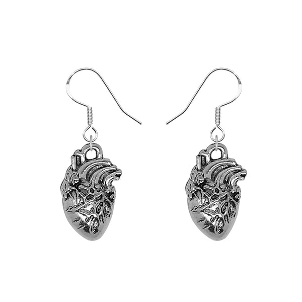 Anatomical Human Heart Hook Earrings