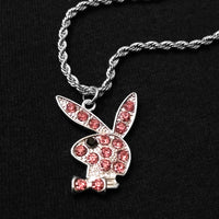 Iced Out Pink Playboy Bunny Necklace