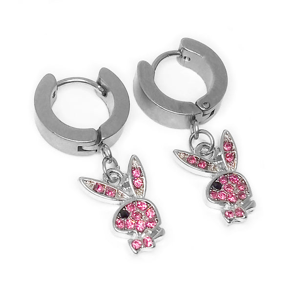 Pink Blinged Out Playboy Bunny Earrings