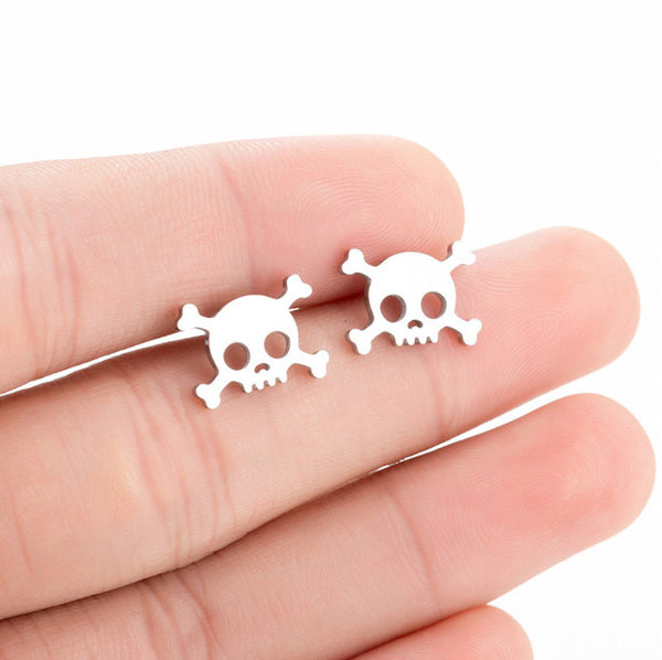 Skull Crossbones Stud Earrings