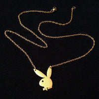 Playboy Bunny Gold Color Charm Necklace