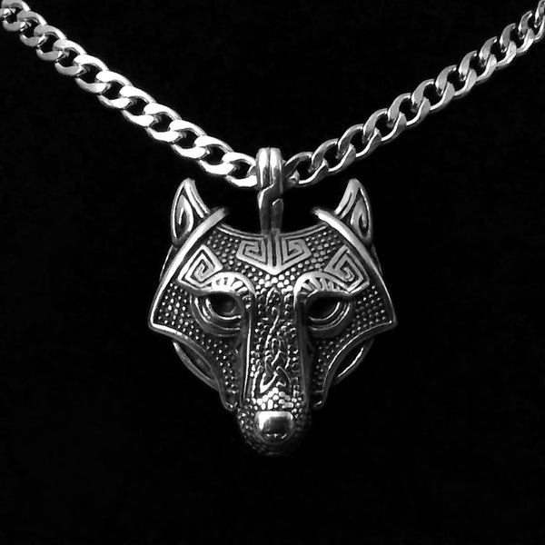 Norse Vikings Fenrir Wolf Head Necklace