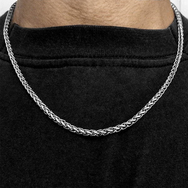 Stainless Steel Wheat Chain Necklace - 20 Inch - 4mm width