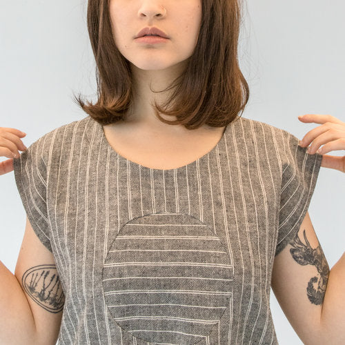 Railroad Circle Blouse - Gray Stripe - Hemp and Organic Cotton