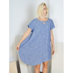 Half Moon Dress -- Blue Chambray
