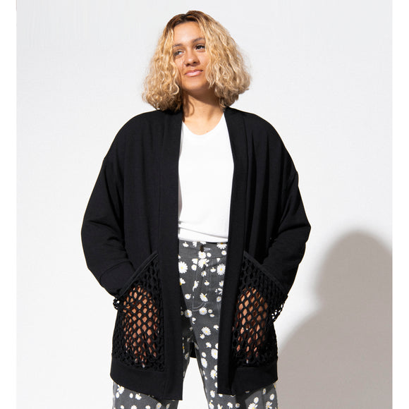 Honeycomb Cardigan - Black Bamboo Terry